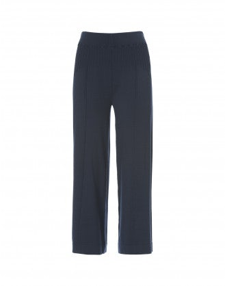 NATTY: Blue cropped knitted jersey flares