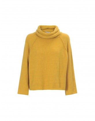 JASPER: Soft , cowl neck sweater in mustard