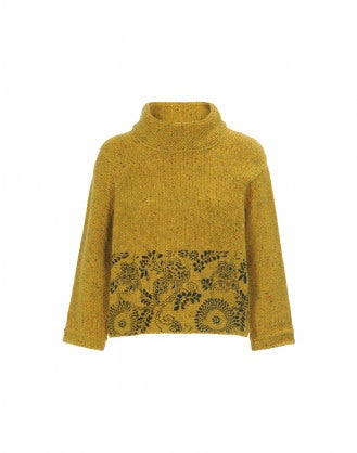 KLIMT: Maglioncino in tweed Donegal color senape