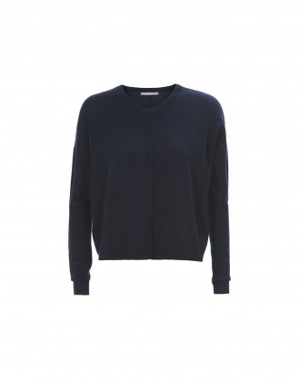 CARBON: Navy V-neck knit in wool, silk and cashmere