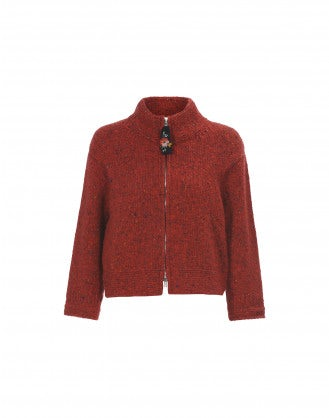 LAZULI: Authentic Donegal tweed red fleck cardigan