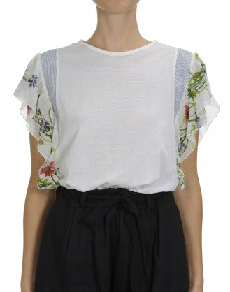 CHORUS: Plain and stripe top with floral ruffle