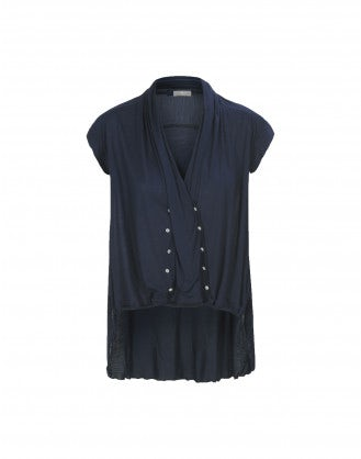 FOLD: Mid blue faux-wrap front jersey top
