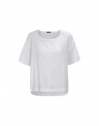 MIZU: White hint of sheer cotton top