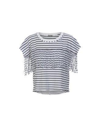 GAZEBO: T-shirt a righe blu e bianche con frange