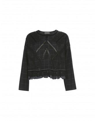 BANDOLA: Top in lana a quadri neri con inserti e applicazioni