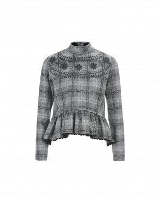 MIASMA: Maglia in lana scozzese grigia