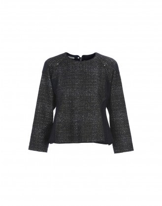 ONLINE: Navy fluted hem tweed knit