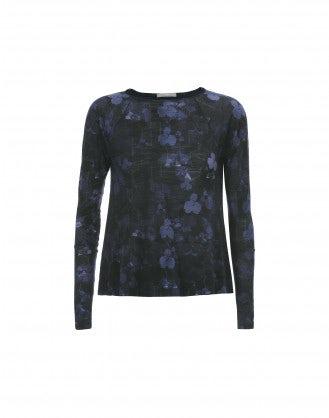 MAHONIA: Top a righe con maniche lunghe e motivi floreali blu e neri