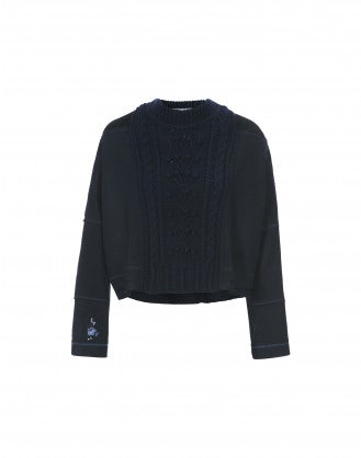 COMPRISE: Navy cable cropped hem sweater