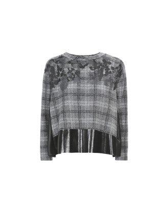 DAPPLE: Maglia scozzese grigio con effetto lucido