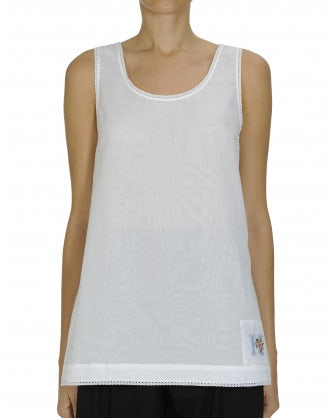 SOLO: Ribbon lace trim white voile singlet