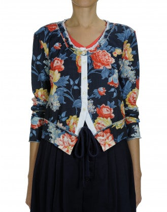 IMAGINE: Cotton jersey cardigan in pink floral print