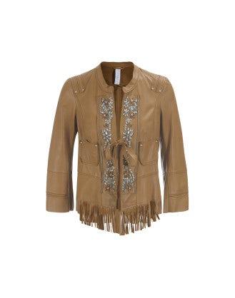STYX: Chestnut diamante front tassel leather jacket