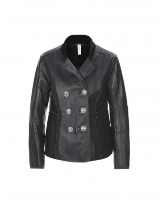 TATYANA: Leather jacket with velvet stand collar