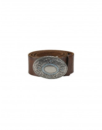 PREEN: Oval buckle and stud leather belt