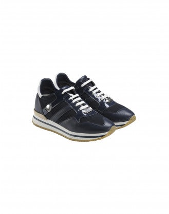 FRANTIC: Navy patent leather luxe sneakers