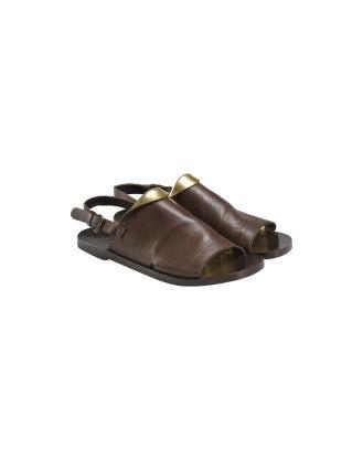 GURU: Sandali in pelle marrone e dorata con punta aperta