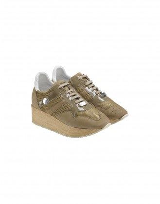 PODIUM: Sneakers beige con zeppa effetto legno