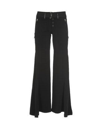 MATELOT: Pantaloni neri a campana con inserti