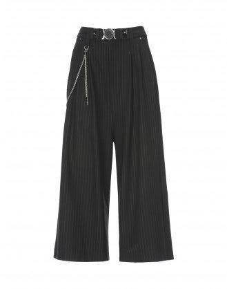 GIULIA: Pantaloni ampi gessati neri a campana