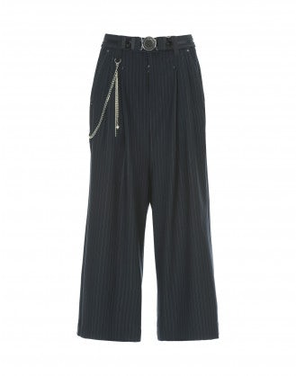 GIULIA: Navy cropped pinstripe low maintenance flares
