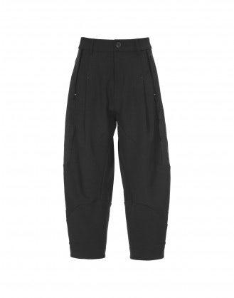 FAYE: Pantaloni neri alla caviglia con inserti broccati