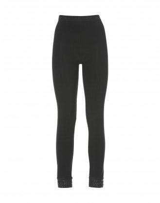 JEEPERS: Leggings neri con applicazioni geometriche sui polsini