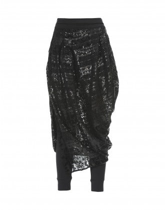 CAROUSEL: Black velvet and sequin stripe perforated skirt