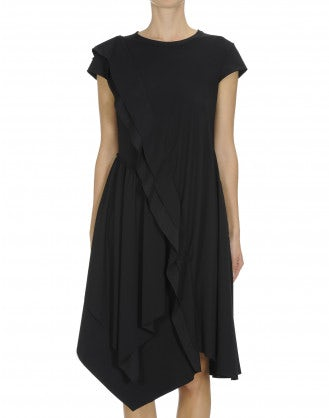STRATEGY: Black cap sleeve dress with ruffle