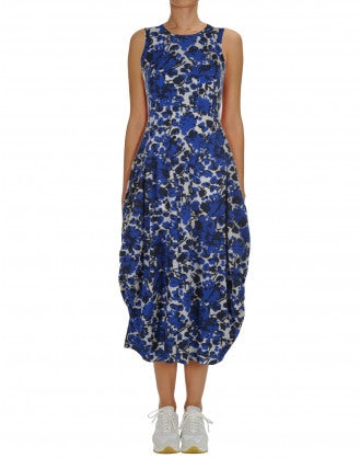 "AT LENGTH: Blue and white floral Sensitive® ""balloon"" dress"