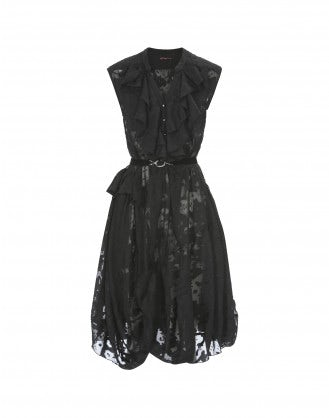 HOEDOWN: Black sleeveless ruffle neck dress