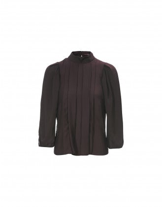 ETUDE: Burgundy pleated front high neck blouse