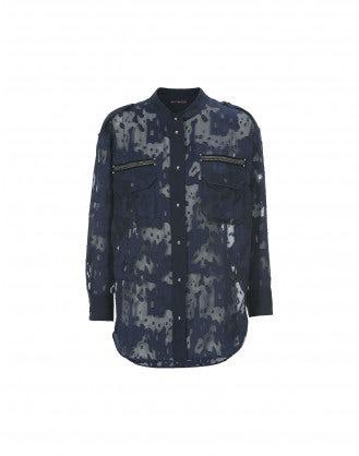 REPORTER: Camicia blu navy taglio laser camouflage