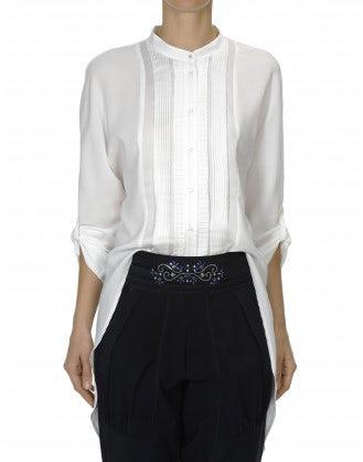 BIBELOT: Camicia bianca stile smoking in raso