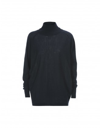 ARDENT: Navy super wide extra high roll neck