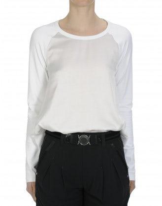 SILENCE: Top in raso e jersey con maniche a raglan