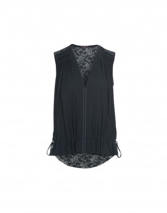 COVET: Top con pizzo tecnico posteriore