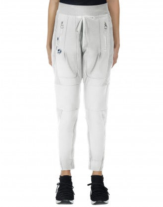 ENTRUST: Track pant in white and pinstripe