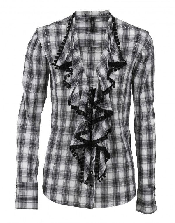 MOLLY: Camicia in cotone a quadri con balza frontale