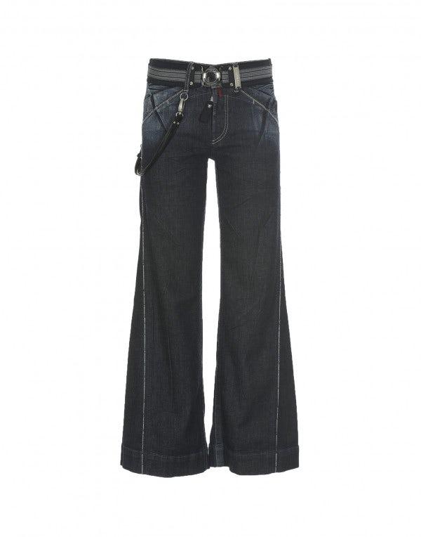 CAPTAIN: Jeans a campana con trattamento artigianale