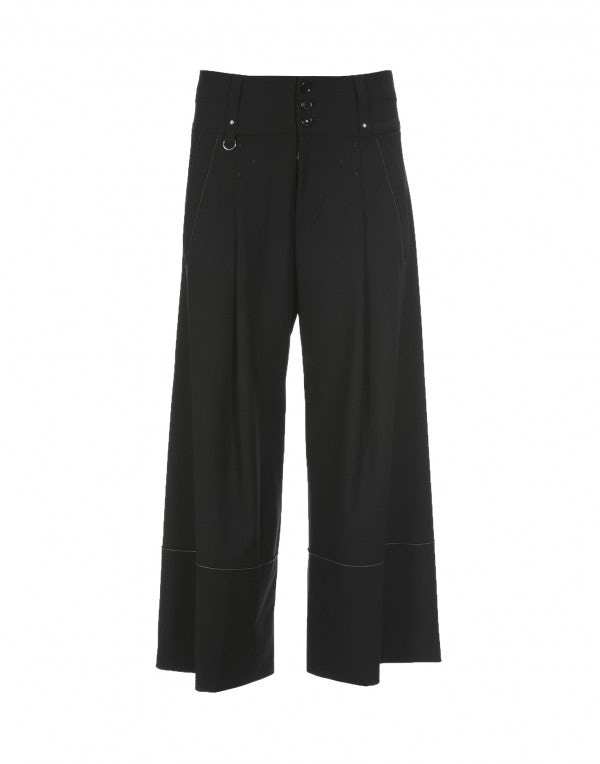 JOLLY: Culottes sartoriali nere in lana