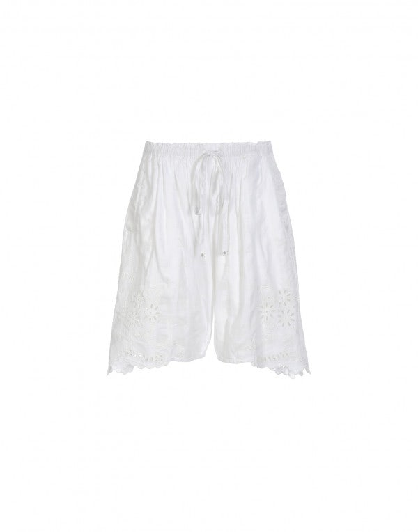 TRUSSEAU: Bermuda bianchi con broderie anglaise