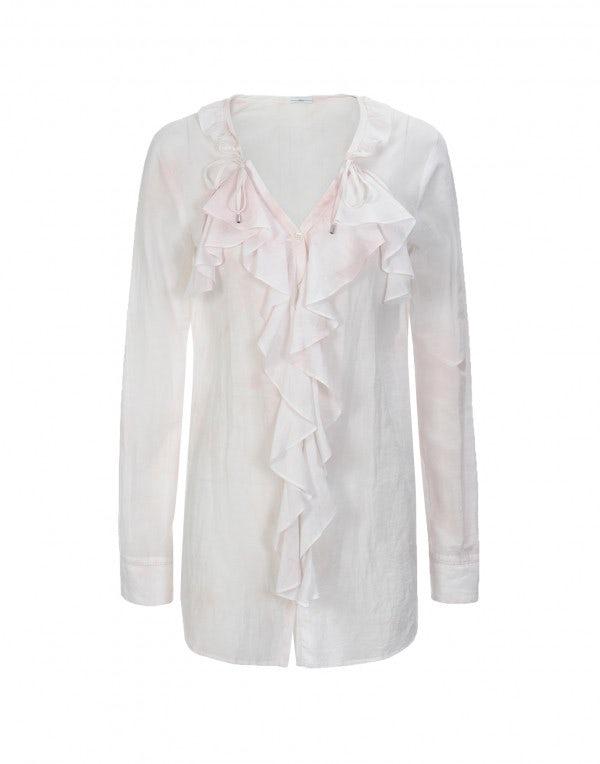 FLORETTE: Camicia rosa pallido con balze