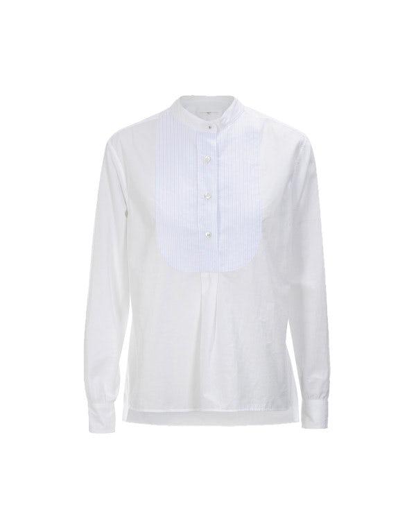 VOTIVE: Camicia bianca con pettorina rigata