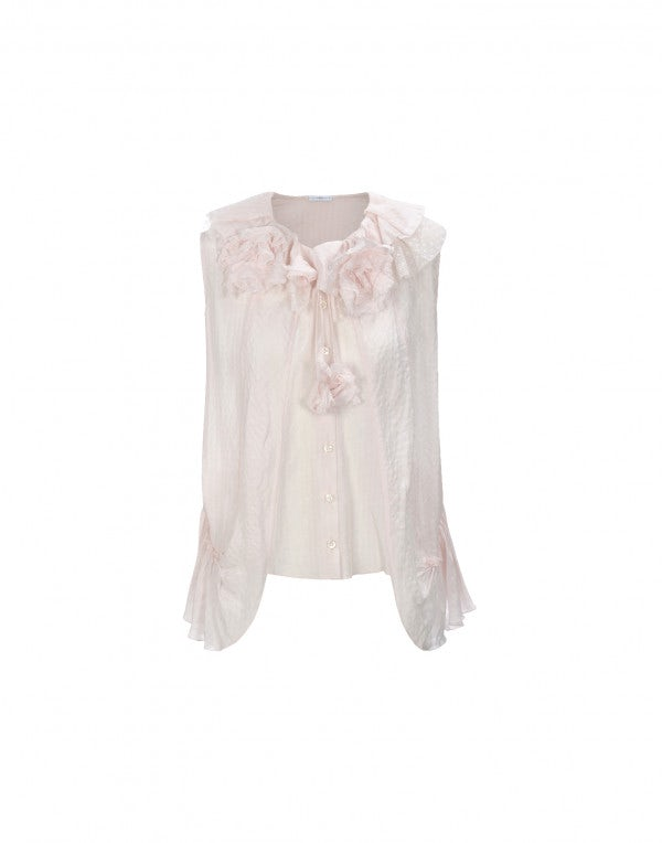 ENJOY: Top in seta rosa pallido con balze