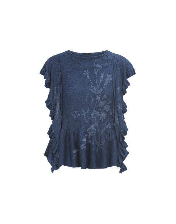 SKIFF: Top in maglia con balze e motivo floreale