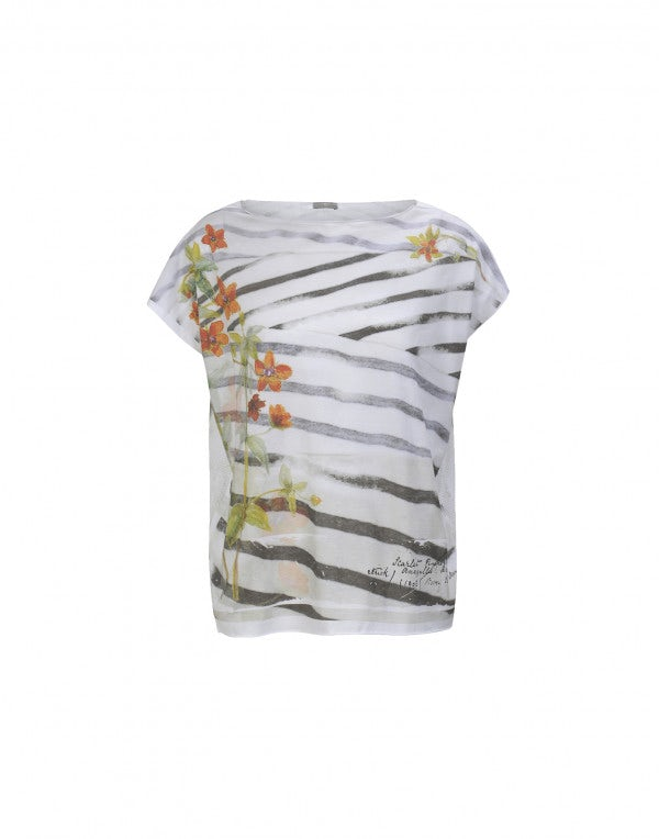 STENCIL: Top con stampa floreale e righe