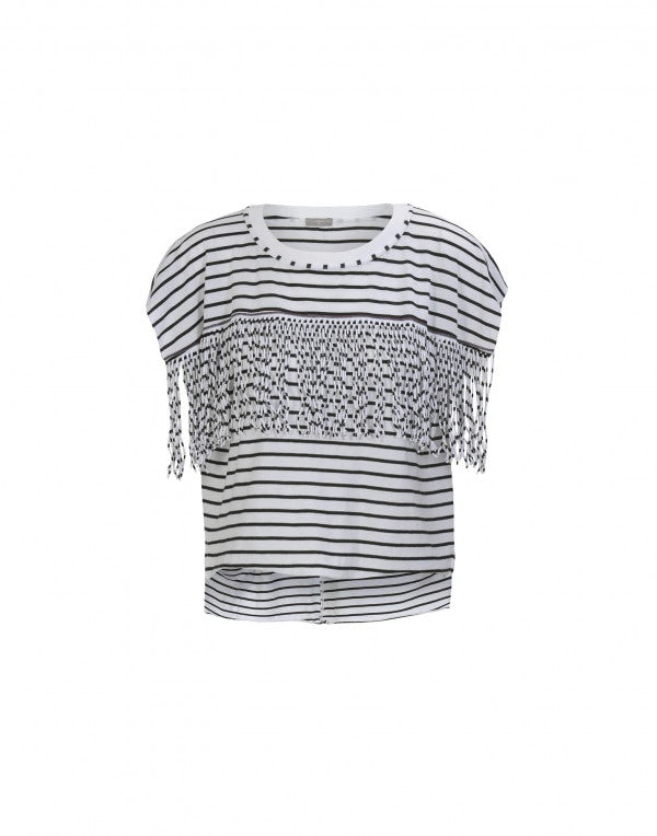 GAZEBO: T-shirt a righe nere e bianche con frange