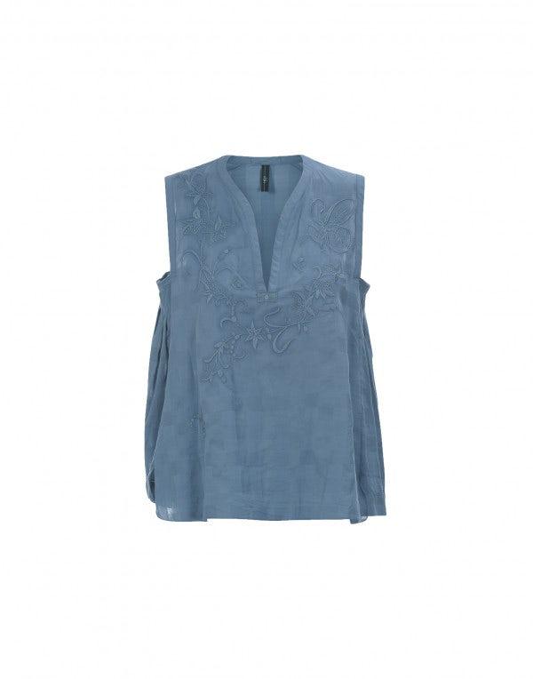 WAFT: Top blu cina a scacchiera con ricamo